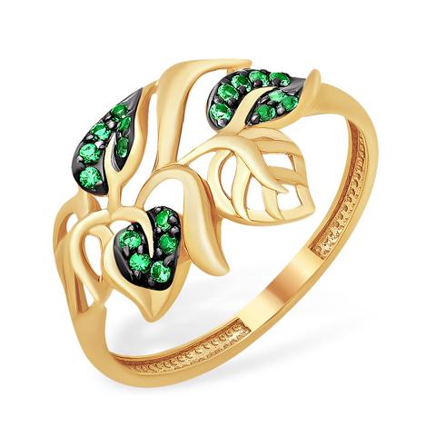 """Золотое кольцо """"листики"""" с зелёными фианитами"""