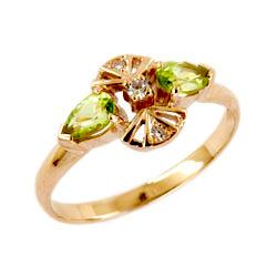 Кольцо из золота с хризолитами и фианитами