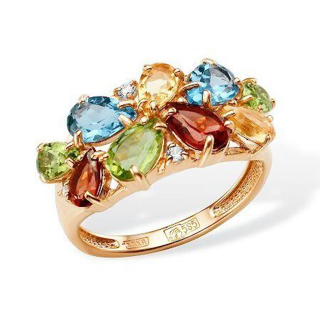 """Золотое кольцо """"микс"""" из полудрагоценных камней"""