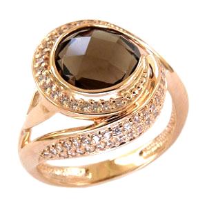 Кольцо из золота с круглым раух-топазом и фианитами