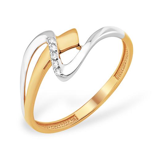 Очень лёгкое кольцо из золота 585 пробы с фианитами