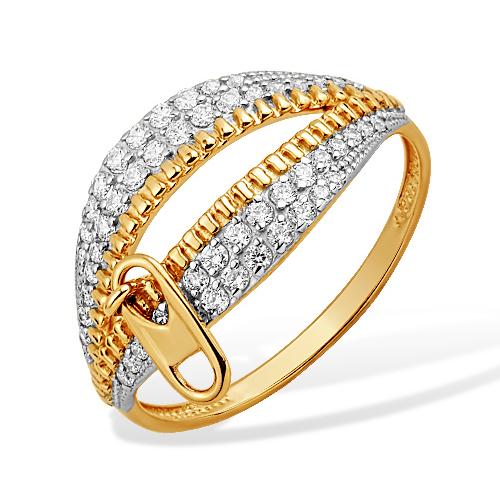 Золотое кольцо в виде молнии с фианитами