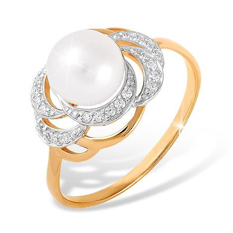 Кольцо из золота с жемчугом и бесцветными фианитами