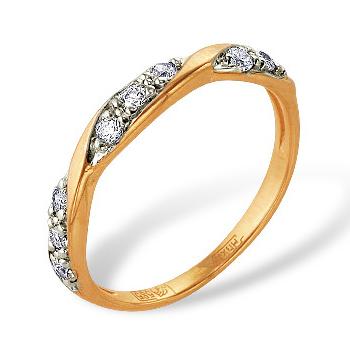 Тонкое кольцо из золота с фианитами