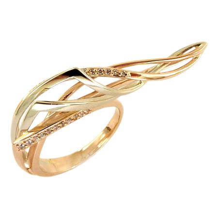 Кольцо на два пальца из золота с фианитами