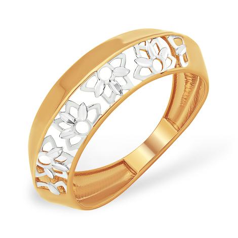 """Золотое кольцо необычного дизайна """"лотос"""""""