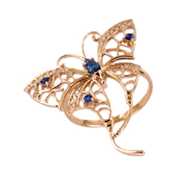 """Кольцо """"бабочка"""" из золота с синими фианитами"""