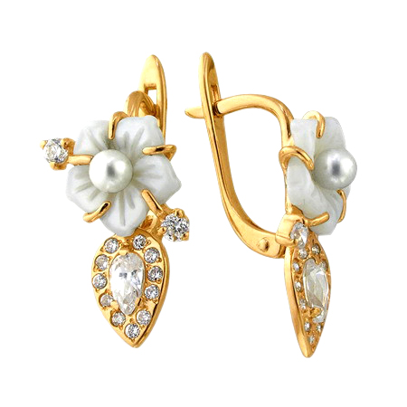 Серьги из золота с белым перламутром в виде цветочка, жемчугом и фианитами