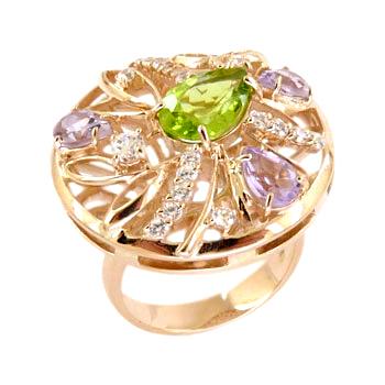 Кольцо из золота с аметистами, зеленым и белыми и фианитами