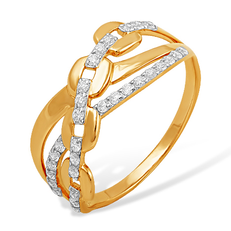 Кольцо-цепь из золота с фианитами