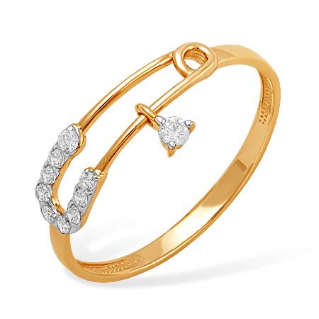 """Кольцо """"булавочка"""" из золота с фианитами"""