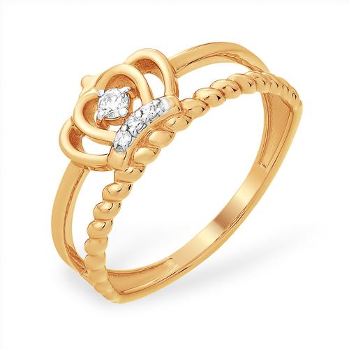 Кольцо для принцессы из золота с фианитом