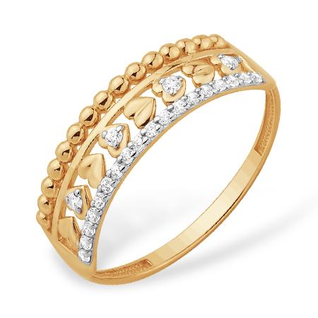 Модное золотое кольцо с сердечками и фианитами