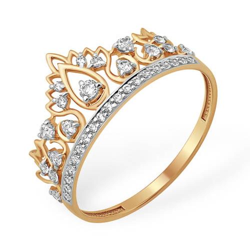 Кольцо в виде короны из золота с фианитами