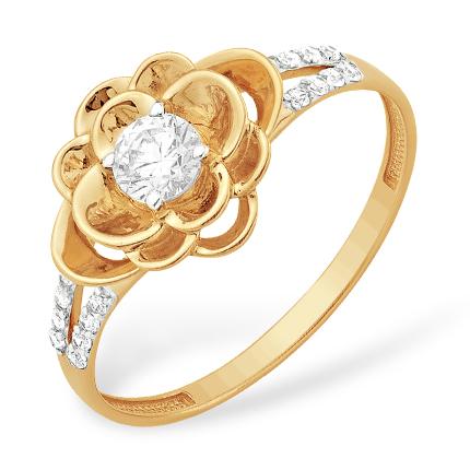 """Золотое кольцо """"цветок"""" с кристаллом Сваровски и фианитами"""