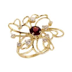 """Кольцо """"цветок"""" из золота с гранатом и фианитами"""