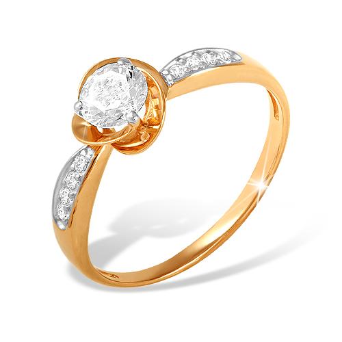 Кольцо из золота с крупным фианитом