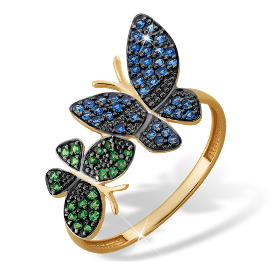 """Кольцо из золота """"разноцветные бабочки"""" с фианитами"""