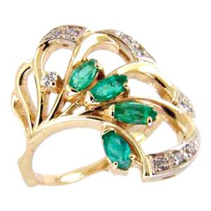 Кольцо из золота с зеленым агатом и фианитами