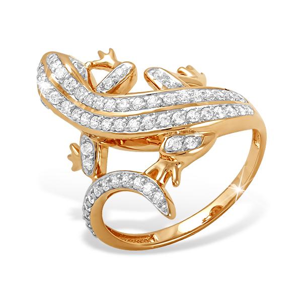 """Кольцо """"саламандра"""" из золота с фианитами"""