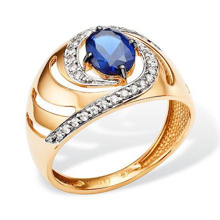 Кольцо из золота с наносапфиром и фианитами