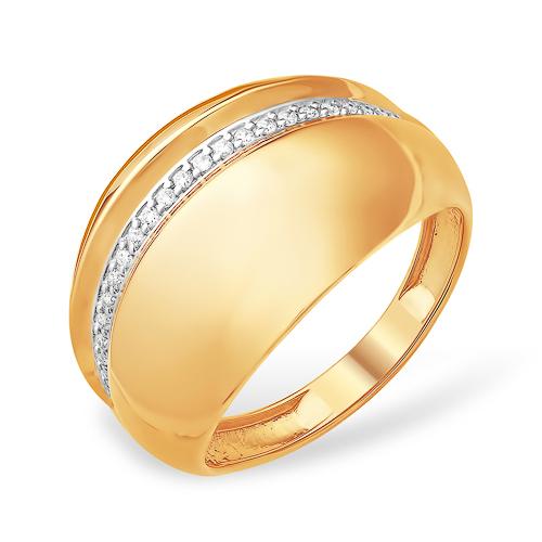 Золотое широкое кольцо с фианитовой дорожкой