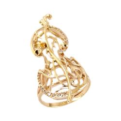 """Кольцо """"скрипка"""" из золота с цитринами и фианитами"""