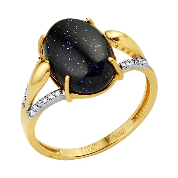 Золотое кольцо с авантюрином и фианитами