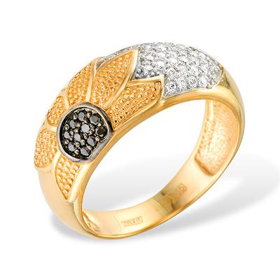 """Кольцо """"подсолнух"""" из золота с фианитами"""