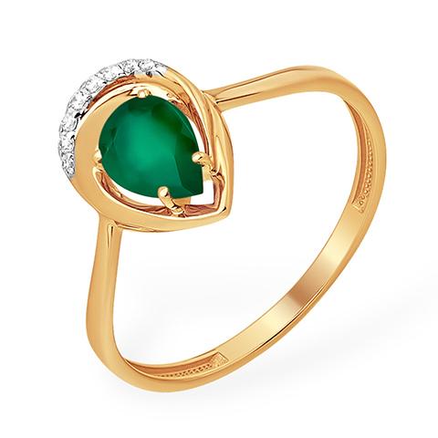 Кольцо с зелёным агатом и фианитами из золота