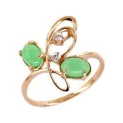 Золотое кольцо с хризопразом и фианитами