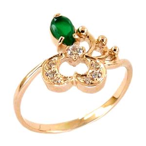Кольцо из золота с зеленой шпинелью и фианитами