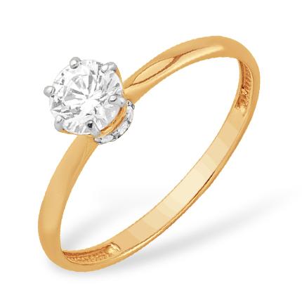 Помолвочное кольцо из золота с кристаллом Swarovski