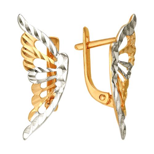 """Серьги """"крылья"""" из золота с алмазной гранью"""