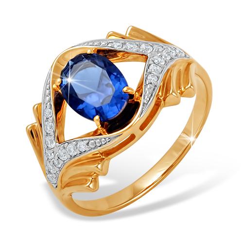 Кольцо с крупным синим и белыми фианитами из золота