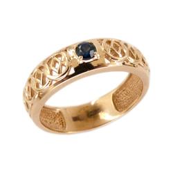 Кольцо из золота с черным фианитом