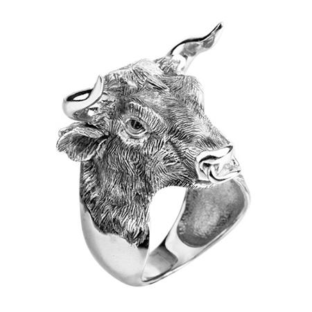 """Мужское кольцо """"Бык"""" из серебра"""