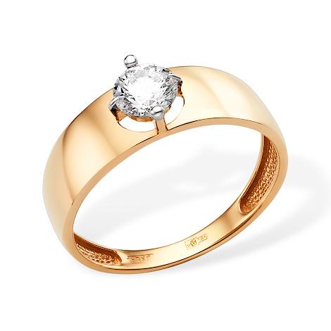 Золотое кольцо с крупным фианитом