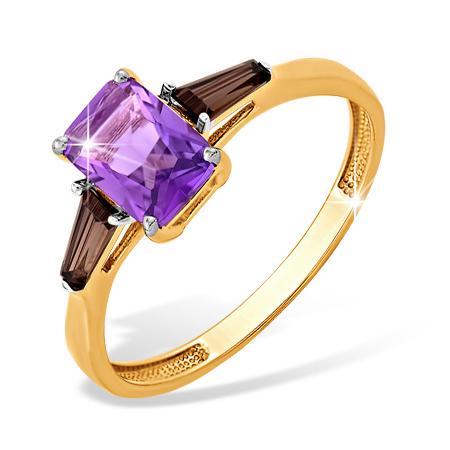 Кольцо из золота с аметистом и коричневыми фианитами