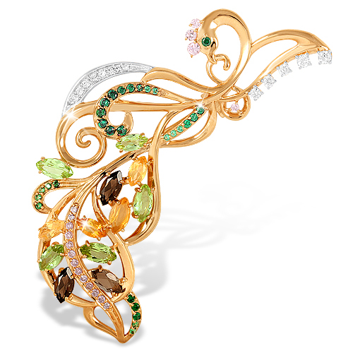 """Брошь из золота """"жар птица"""" с разноцветными фианитами"""