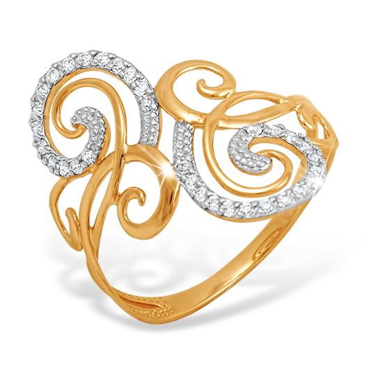 Ажурное кольцо из золота с фианитами