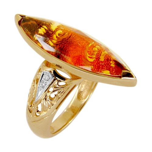 Кольцо из золота с бриллиантами и цитрином