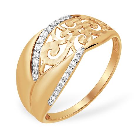Золотое кольцо с узорами и фианитами