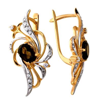Золотые серьги с раух-топазами и фианитами