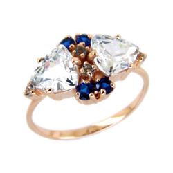 Кольцо из золота с белыми и синими фианитами