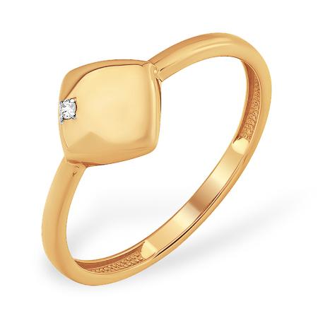 Золотое кольцо ромбовидной формы с фианитом