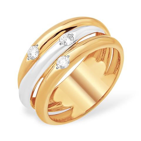 Стильное широкое золотое кольцо с фианитами