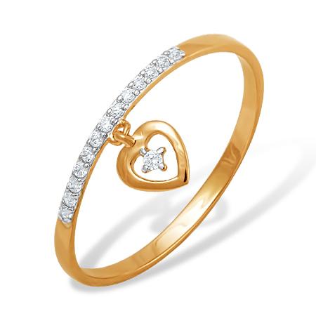 """Кольцо """"сердце"""" из золота с фианитами"""