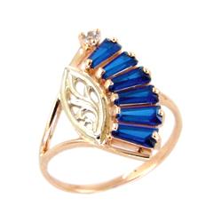 Золотое кольцо с синими и белыми фианитами