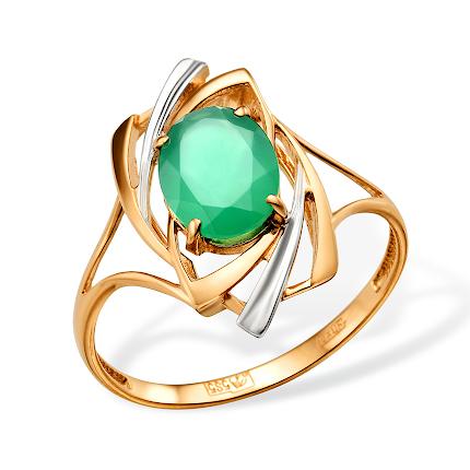 Кольцо с зелёным агатом и родированием